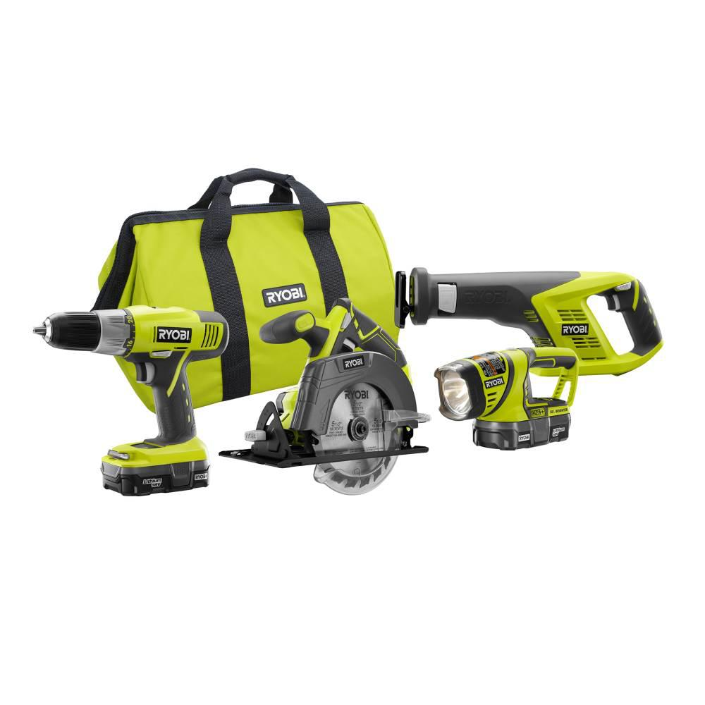 RYOBI 18-Volt ONE+ Lithium-Ion Cordless 4-Tool Super Combo Kit with (2) 1.3 Ah Batteries, 18-Volt Charger, and Tool Bag