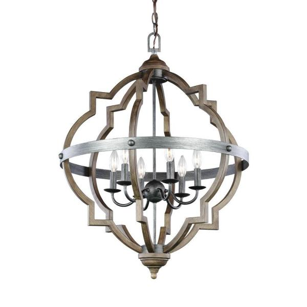 Sea Gull Lighting Socorro 25 in. W. 6-Light Weathered Gray and Distressed Oak Hall-Foyer Pendant