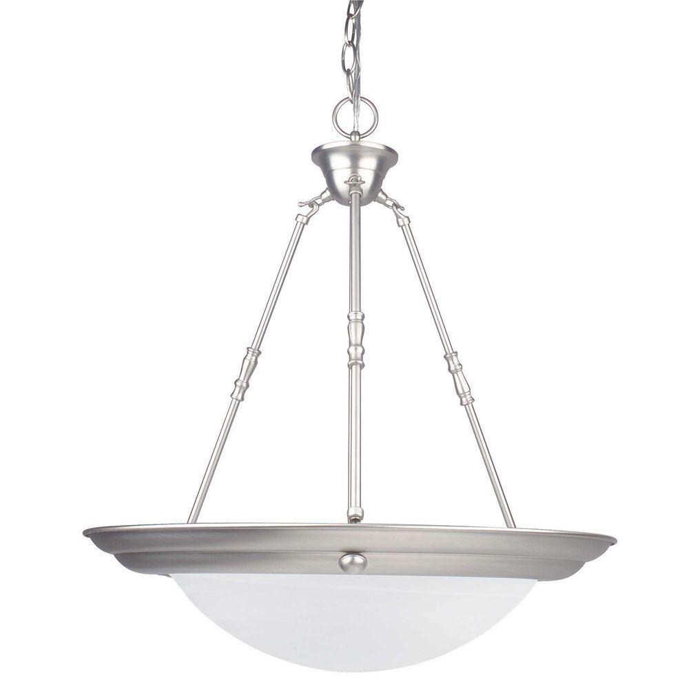 3-Light Satin Nickel Bowl Pendant