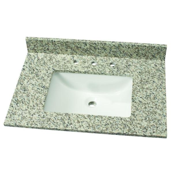 Home Decorators Collection 37 In W Granite Single Vanity Top In Blanco Perla With White Sink Blanper3722 2cm The Home Depot