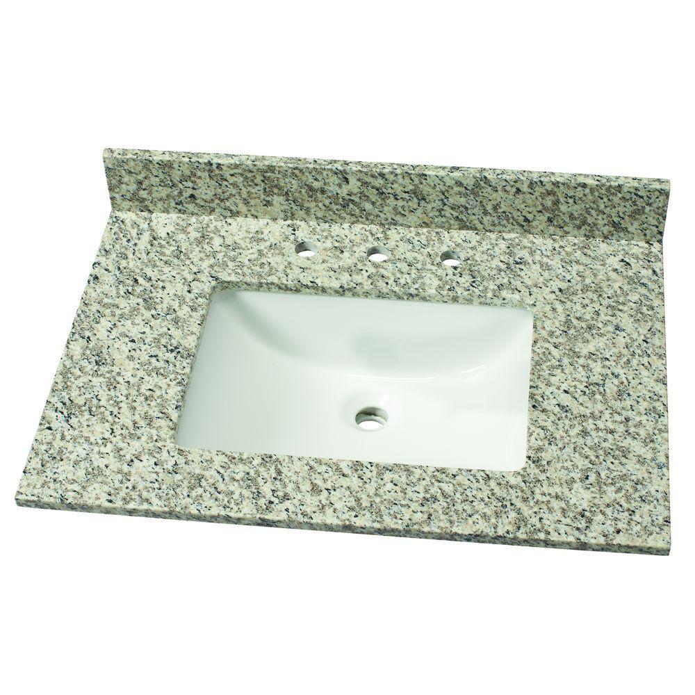 31 in. W Granite Single Vanity Top in Blanco Perla with White Sink