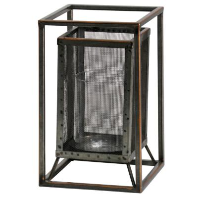 Caged 10 in. Rust, Silver Metal Candle Holder
