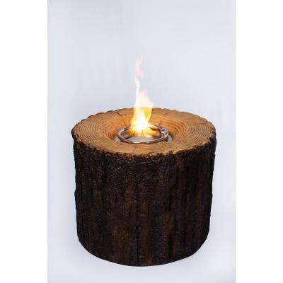 28 in. W x 28 in. D x 24 in. H Round MGO Propane Fire Pit in Tree Stump Finish with Cover