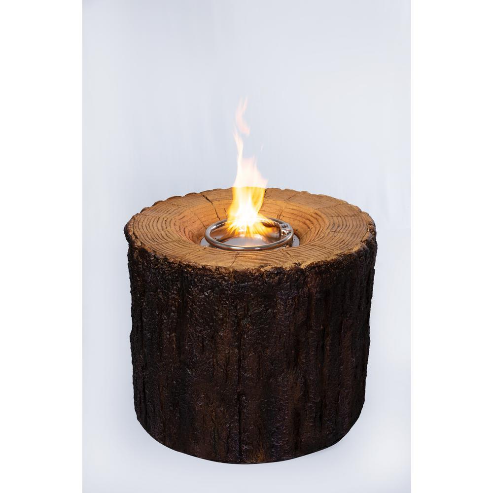 28 In W X 28 In D X 24 In H Round Mgo Propane Fire Pit In Tree Stump Finish With Cover Brickseek
