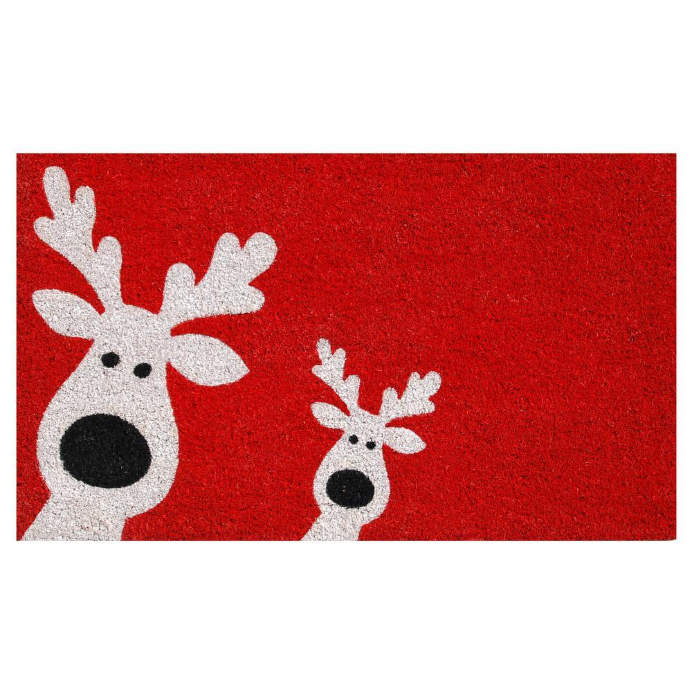 Peeking Reindeer 17 in. x 29 in. Coir Door Mat