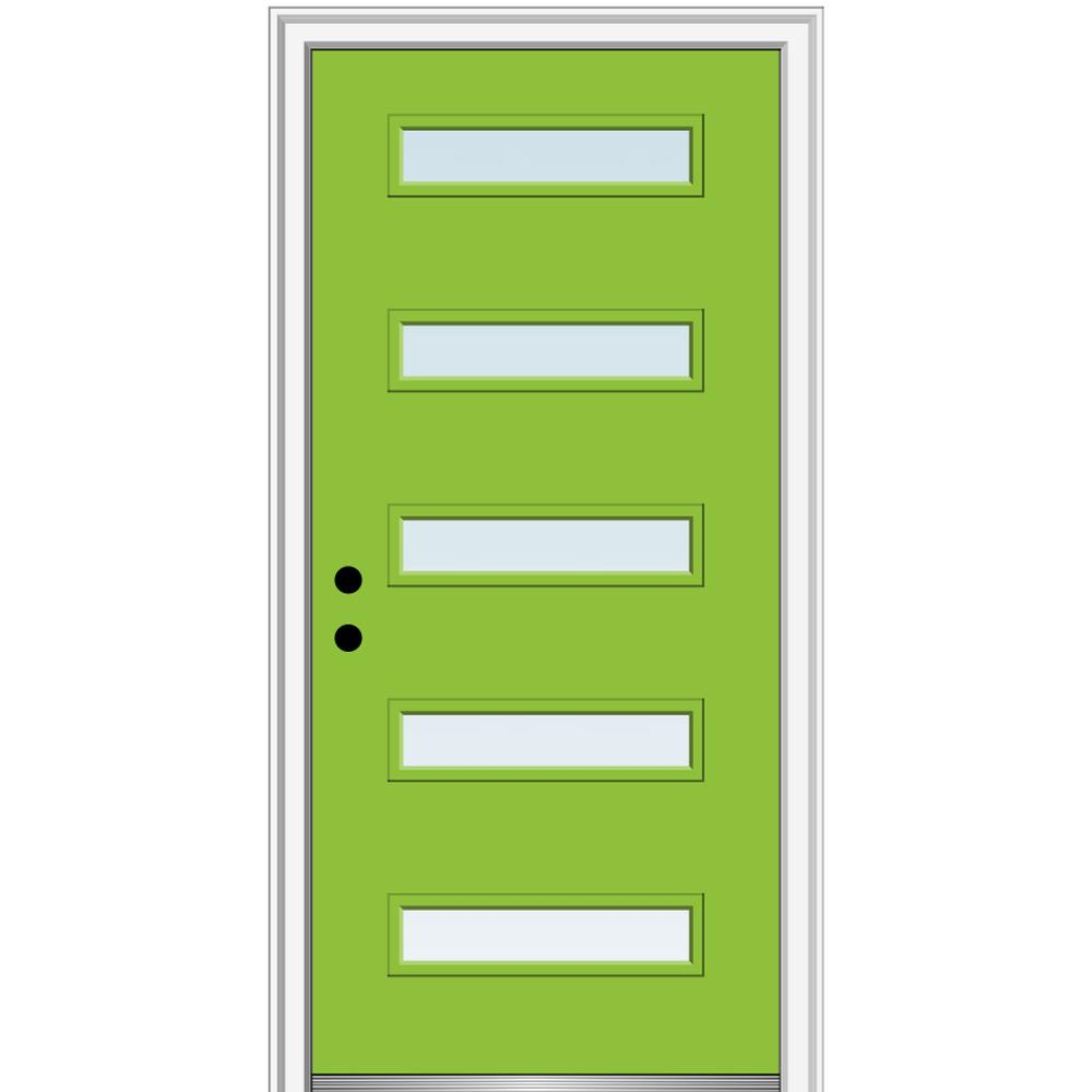 MMI Door 36 in. x 80 in. Davina Low-E Glass Right-Hand Inswing 5-Lite Clear Modern Painted Fiberglass Smooth Prehung Front Door