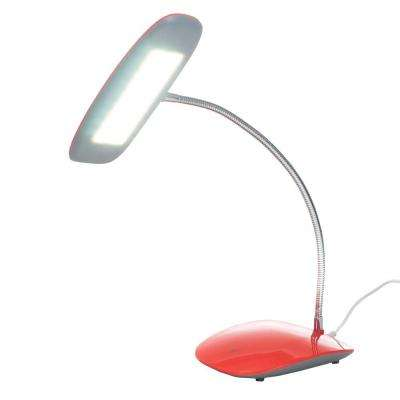 12.5 in. Red Desk Lamp with Touch Activated 18 LED USB