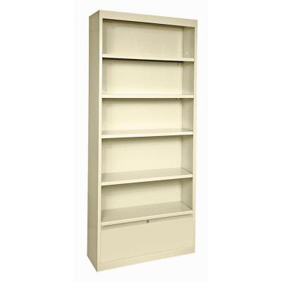 78 in. Putty Metal 5-shelf Standard Bookcase with Adjustable Shelves