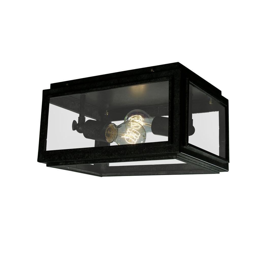 Edison Windee 2-Light Black Indoor Flush Mount