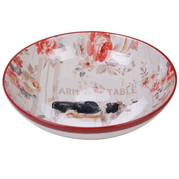 Farmhouse Multi-Colored 13 in. Serving/Pasta Bowl
