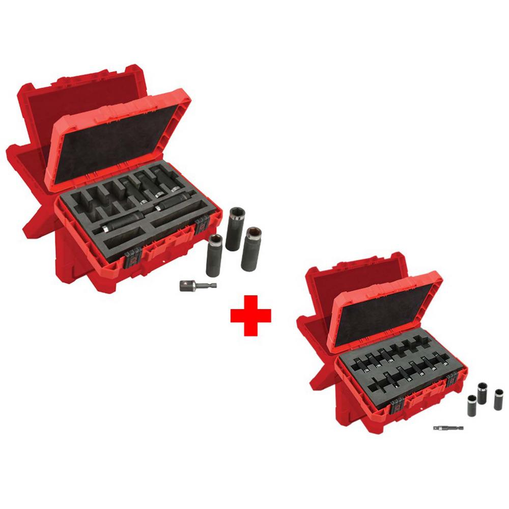 Milwaukee 1/2 in. Drive SAE and 1/4 in. Drive Metric SHOCKWAVE Impact Duty Deep Well Socket Set (21-Piece)