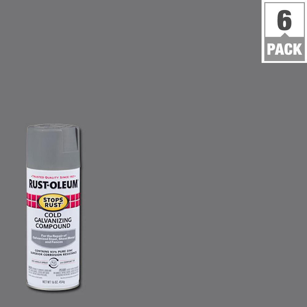 Rust-Oleum Stops Rust 16 oz. Gray Flat Spray Galvanizing Compound (6-Pack)