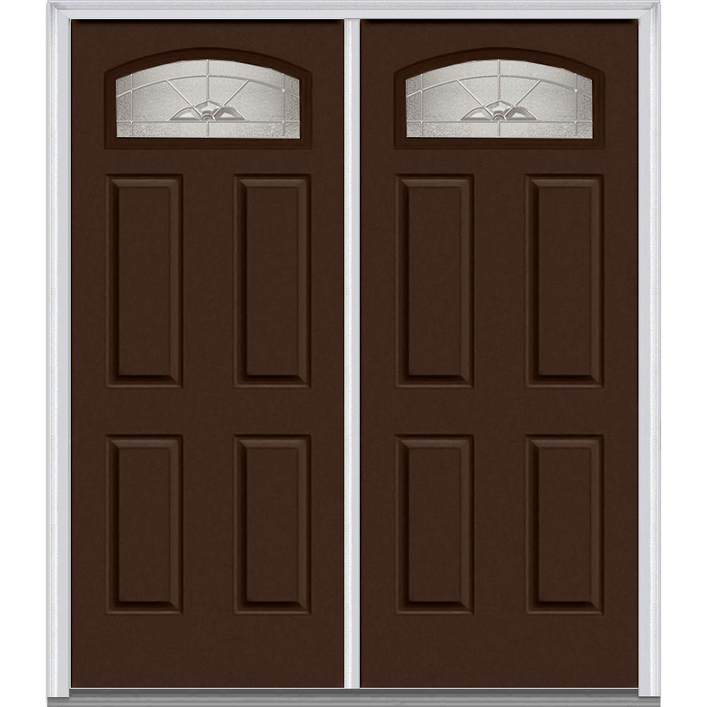 Mmi door 62 in x 8175 in master nouveau decorative glass master nouveau right hand 14 lite 4 panel classic painted steel prehung front door rubansaba