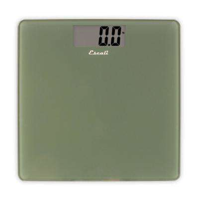 Digital Glass Platform Bathroom Scale in Sage Green