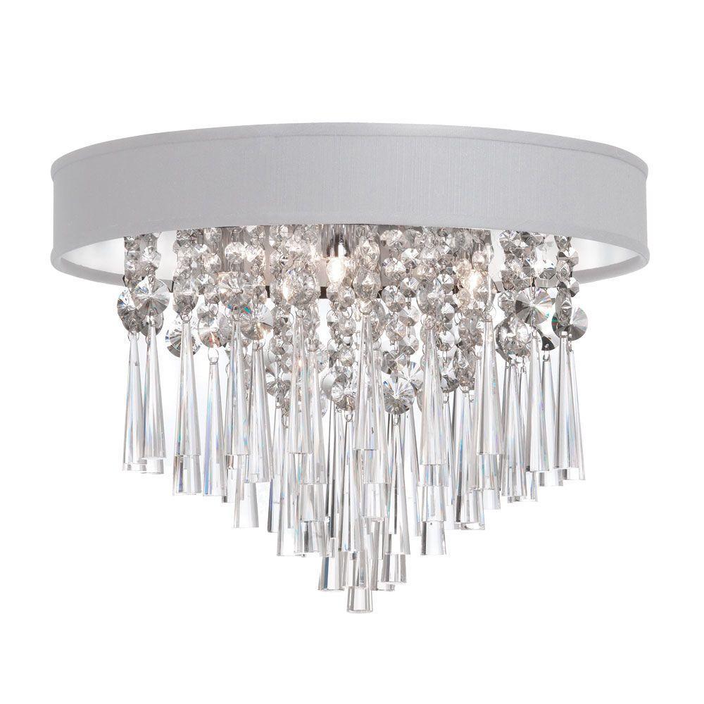 Josephine 3-Light Polished Chrome Crystal Flush Mount with White Baroness Micro Shade