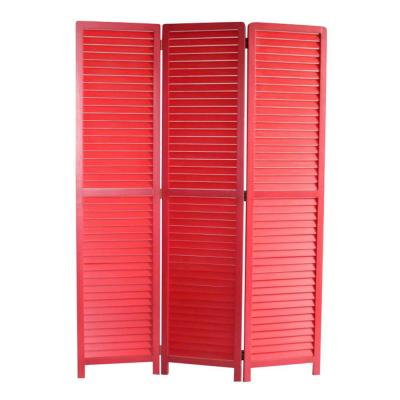 Mariana 5.58 ft. Red 3-Panel Screen Divider