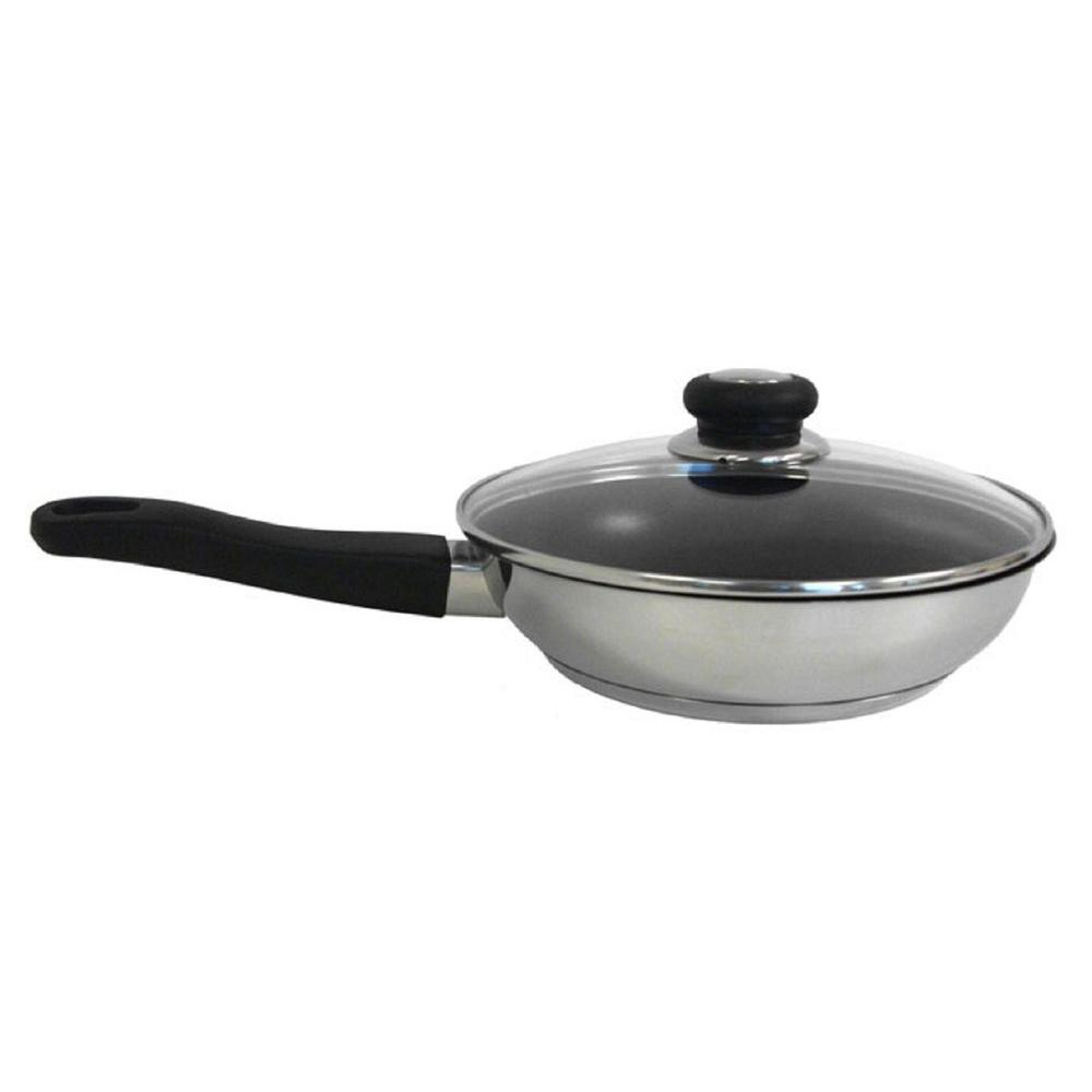 10 In. Induction Ready Non Stick Stainless Fry Pan With Excalibur Coating