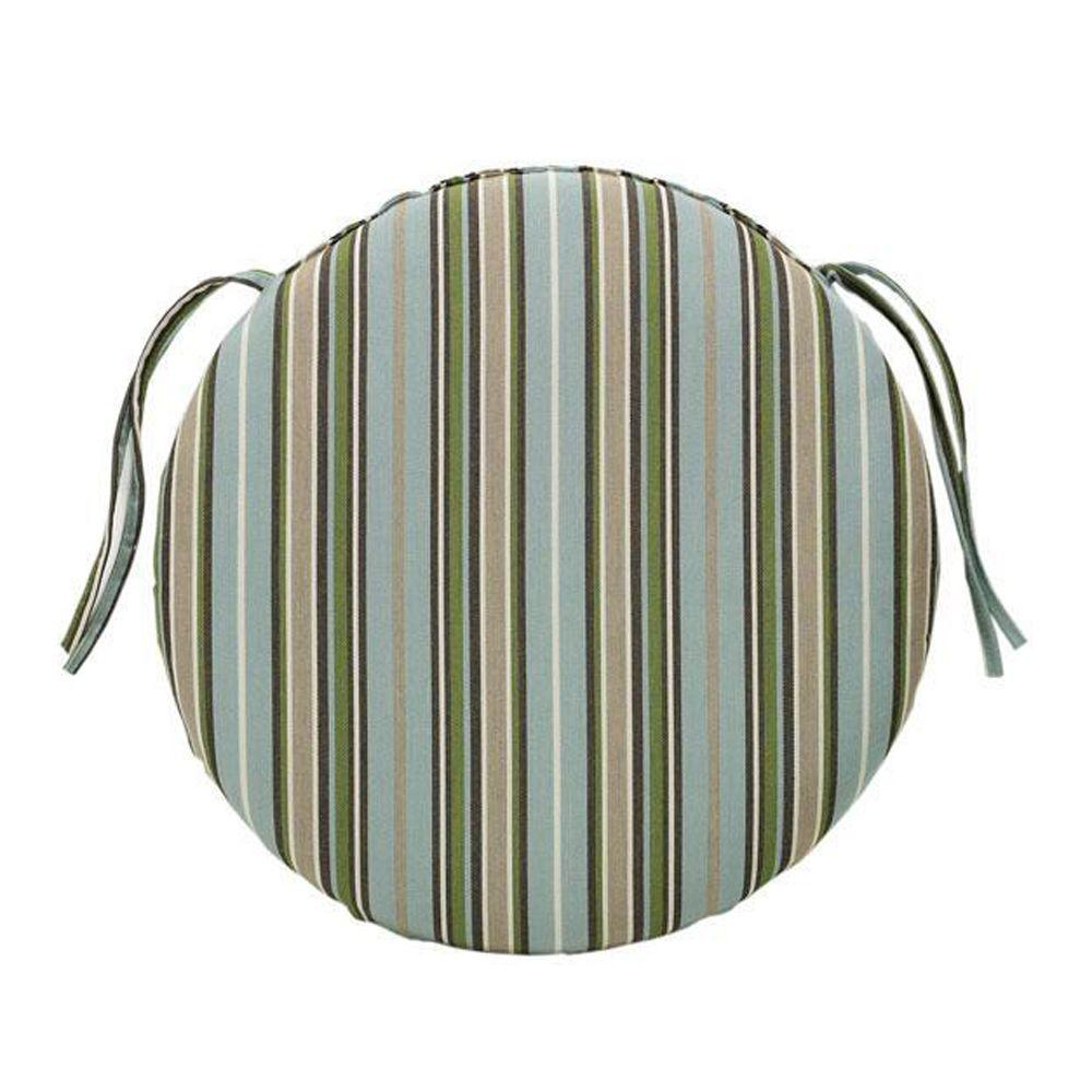 null Sunbrella Cilantro Stripe Round Outdoor Seat Cushion