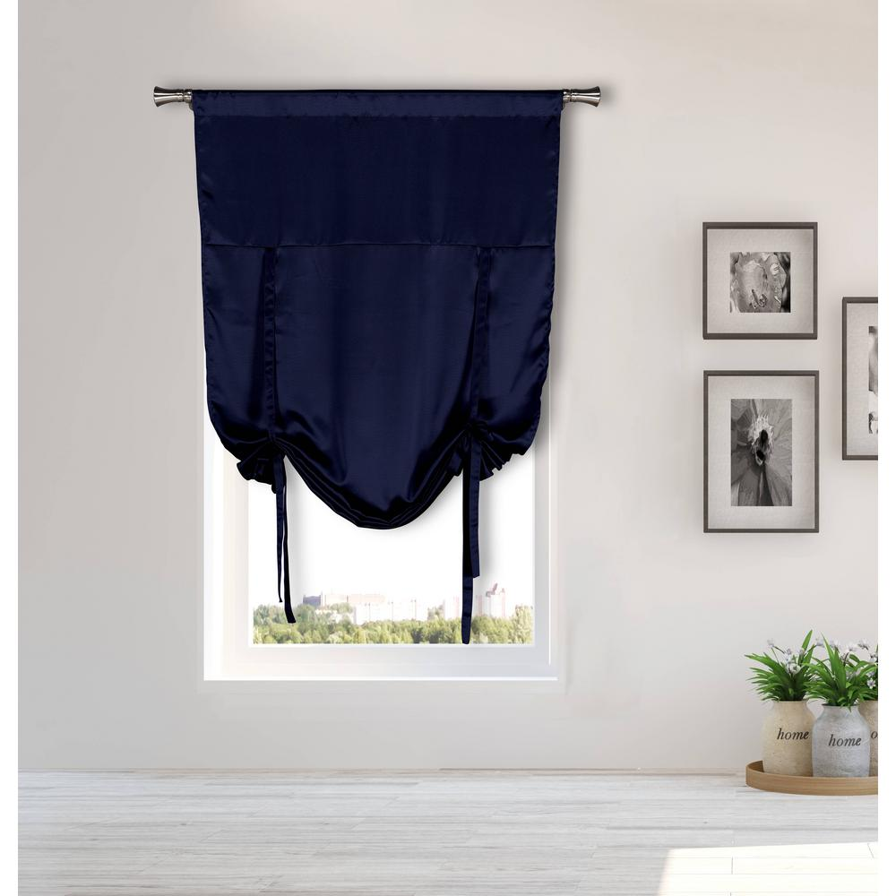 BLACKOUT 365 Irene Navy Tie-up Room Darkening Curtain - 38 in. W x 63 in. L in (2-Piece)