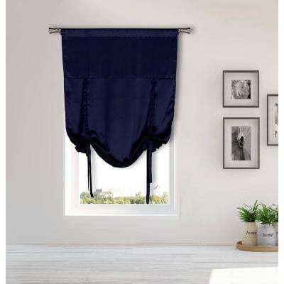 Irene Navy Tie-up Room Darkening Curtain - 38 in. W x 63 in. L in (2-Piece)