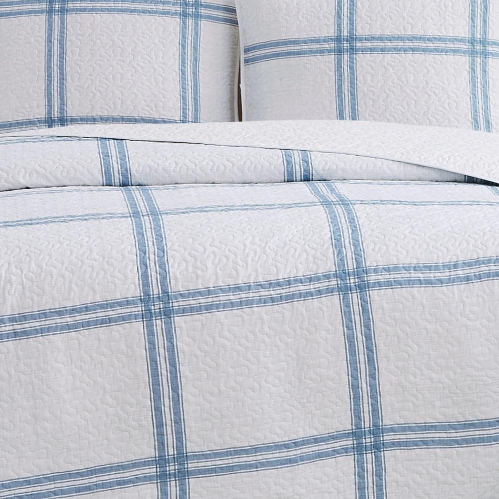 Cottage Classics Farmhouse Plaid Cotton Blue King Quilt Set Qs3251kg 2600 The Home Depot