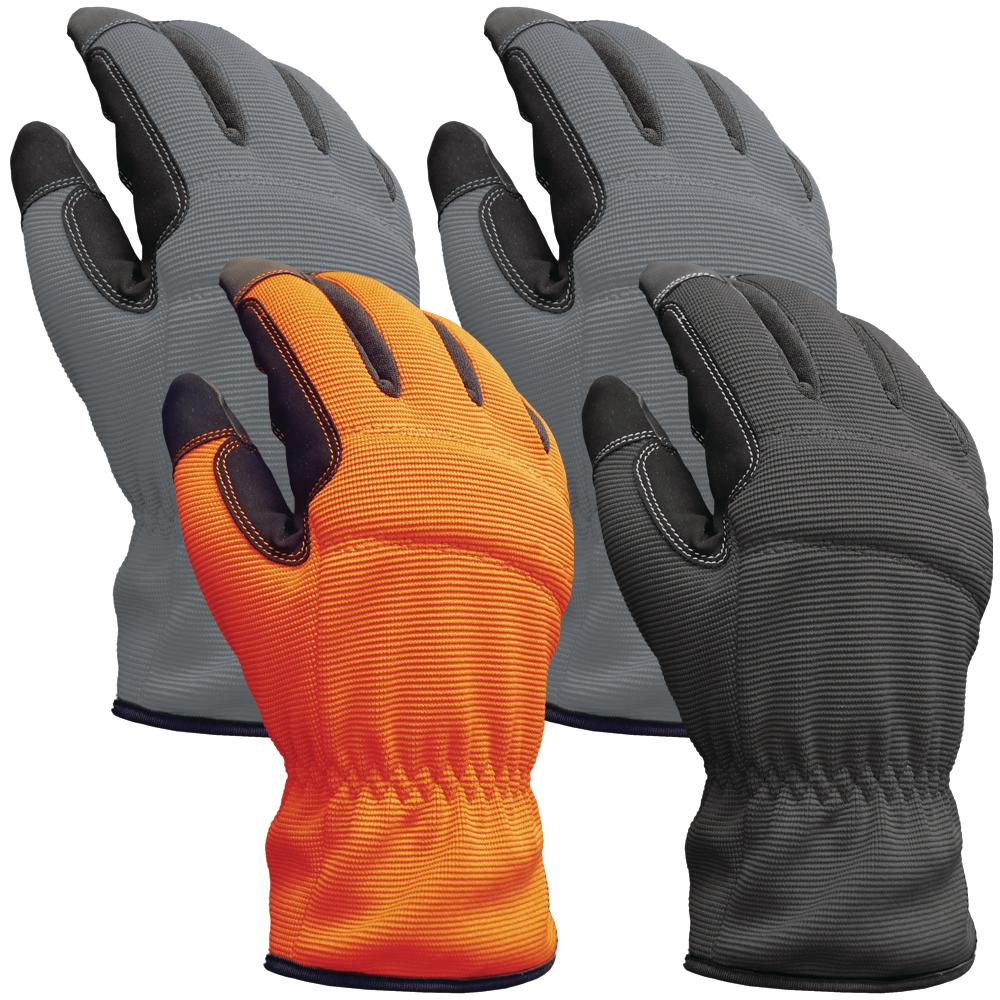 FirmGrip Firm Grip Utility X-Large Multi Color Synthetic Leather Glove (4-Pack), Adult Unisex