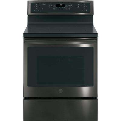 Profile 30 in. Free-Standing Convection Range with Induction in Black Stainless, Fingerprint Resistant