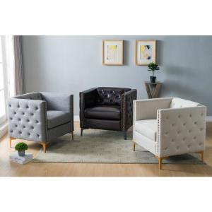 Fine Furniture Of America Adner Brown Leather Tufted Accent Chair Theyellowbook Wood Chair Design Ideas Theyellowbookinfo