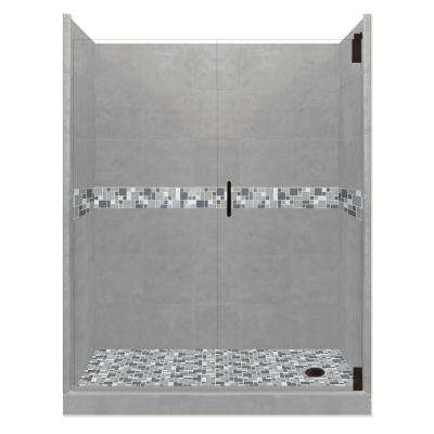 Newport Grand Hinged 42 in. x 60 in. x 80 in. Right Drain Alcove Shower Kit in Wet Cement and Black Pipe Hardware