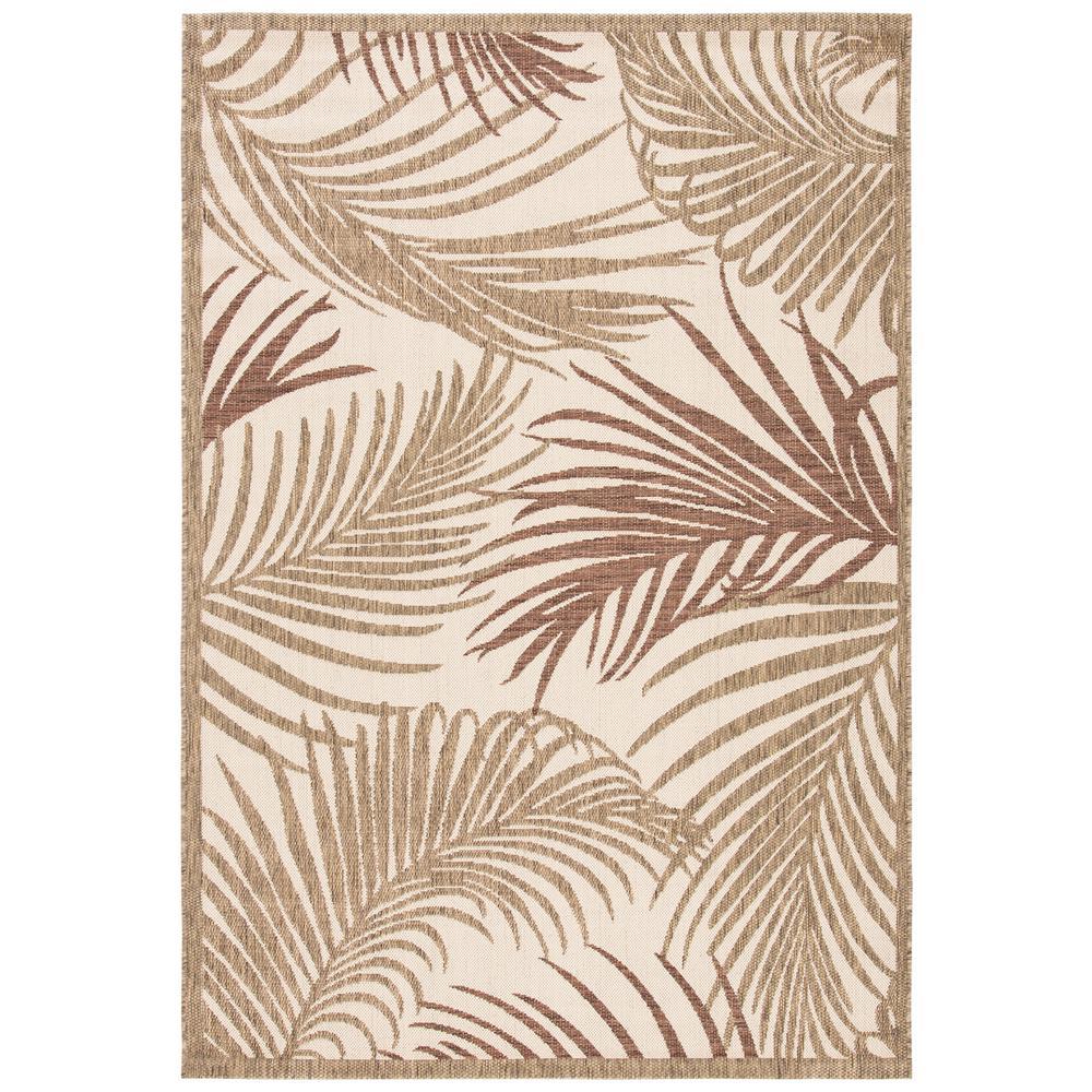 Palm Leaf Brown/Beige 5 ft. 3 in. x 7 ft. 7 in. Indoor/Outdoor Area Rug