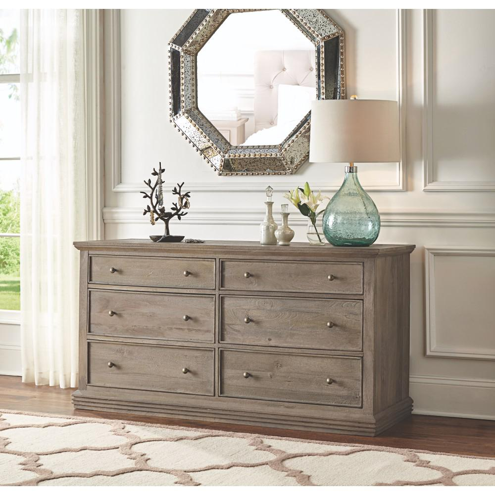 Aldridge 6 Drawer Antique Grey Dresser