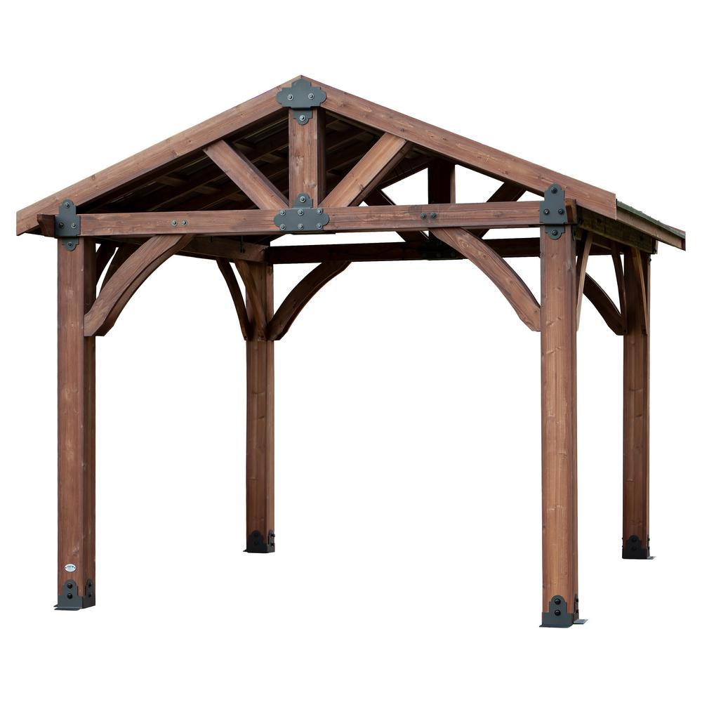 Backyard Discovery Sonora 12 ft. x 12 ft. Premium Cedar Gazebo with Smart Roof Steel