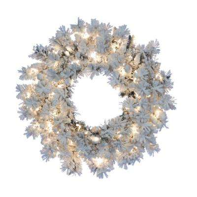24 in. Heavily Flocked Wyoming Snow Pine Wreath with 100 Warm White LED Micro Lights
