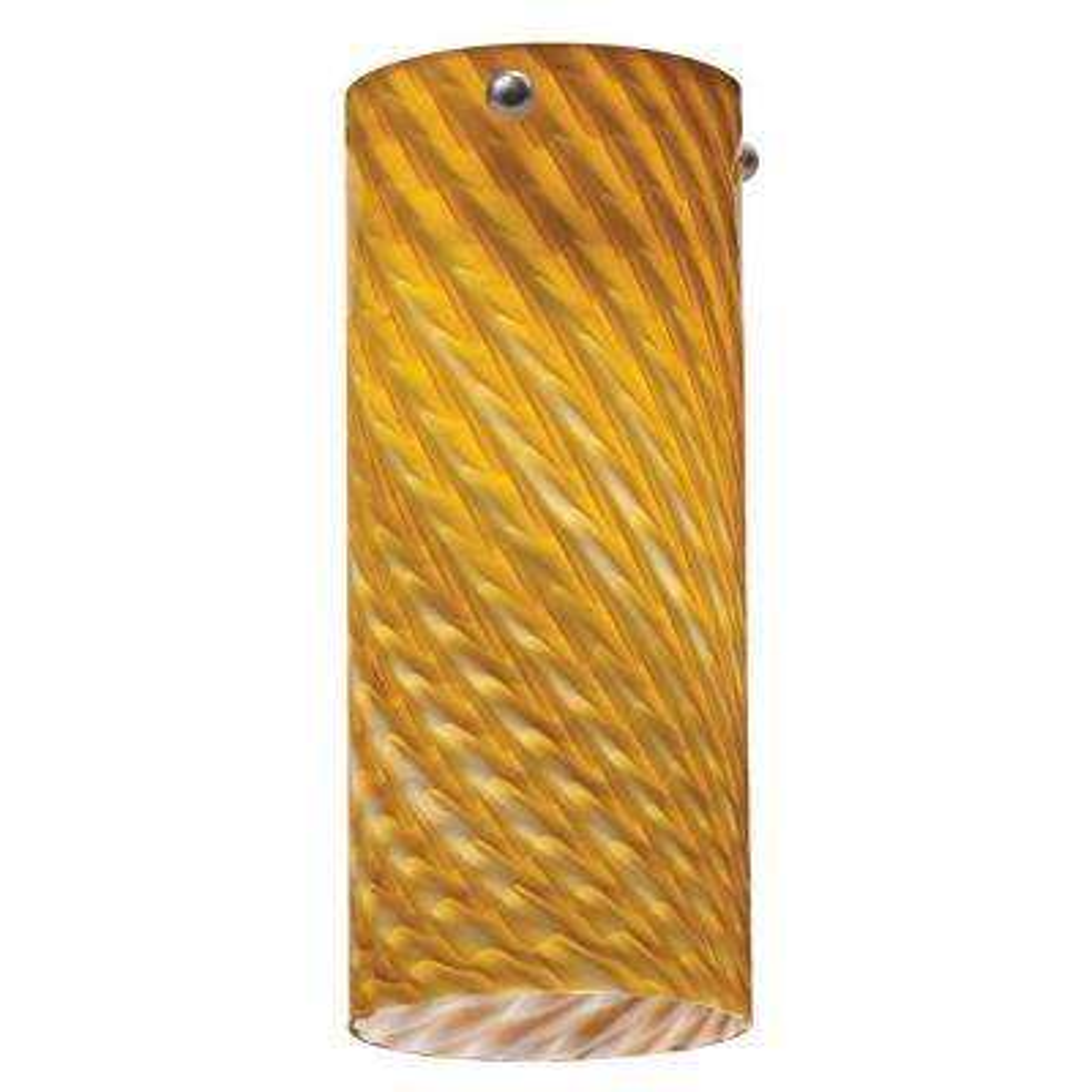 1-Light Amber Twist LED Tall Cylinder Mini Pendant