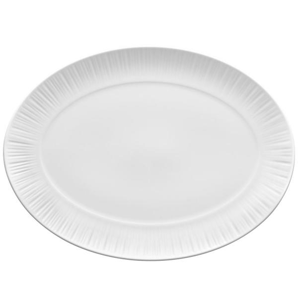 Noritake Conifere White Porcelain Oval Platter 14 1 2 In X 10 3 4 In 1708 413 The Home Depot