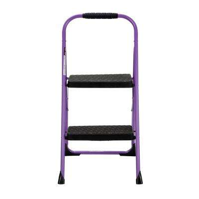 2-Step Steel Big Step Folding Step Stool with Type 3 Rubber Hand Grip in Purple