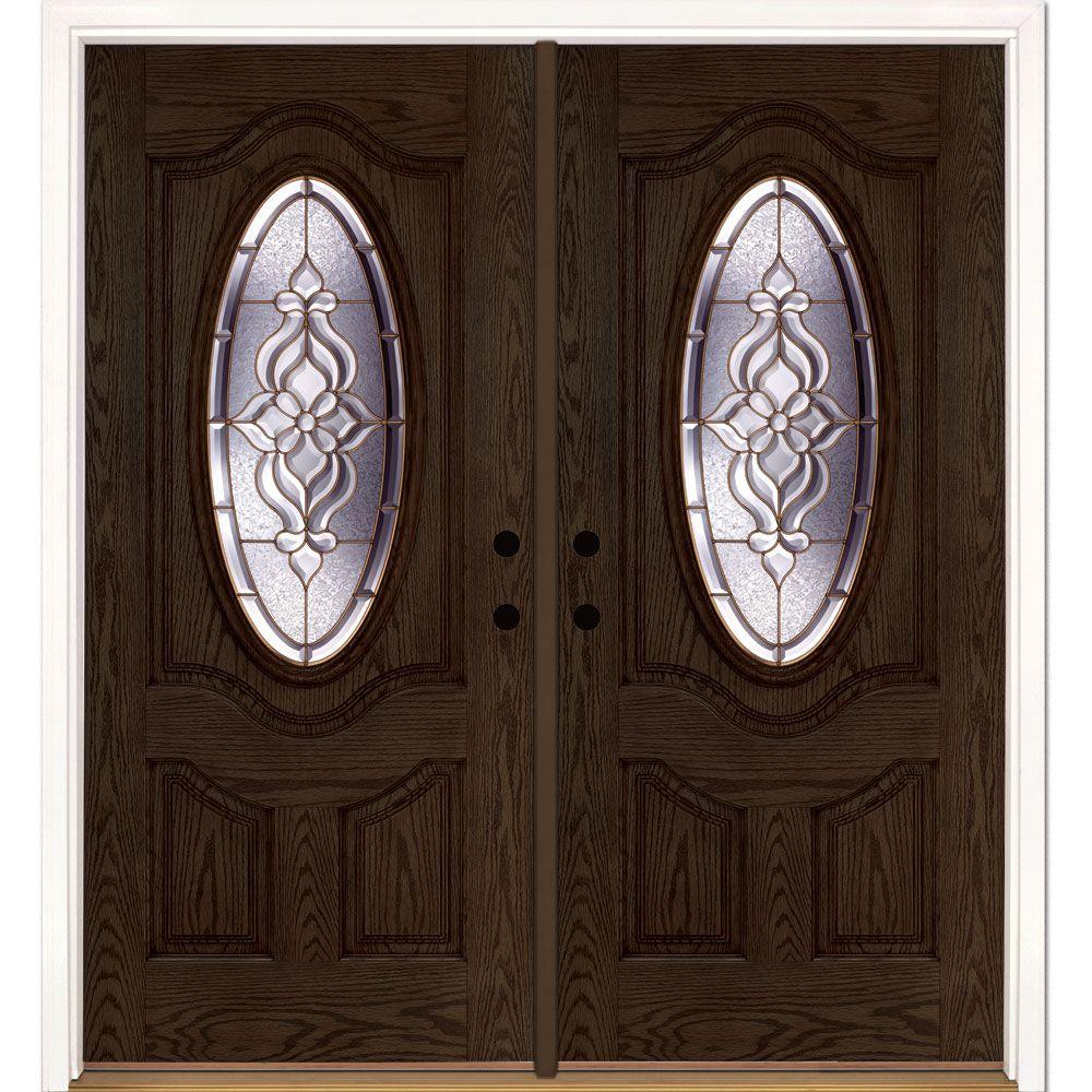 Feather River Doors 74 in. x 81.625 in. Lakewood Brass 3/4 Oval Lite Stained Walnut Oak Right-Hand Fiberglass Double Prehung Front Door