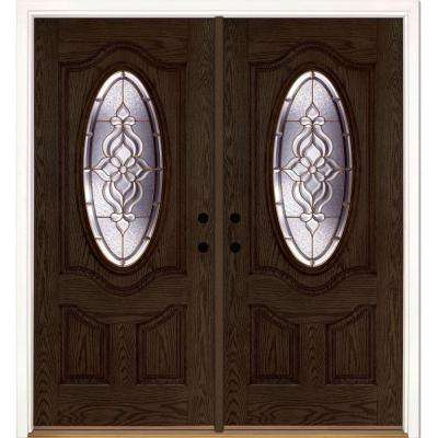 74 in. x 81.625 in. Lakewood Brass 3/4 Oval Lite Stained Walnut Oak Right-Hand Fiberglass Double Prehung Front Door