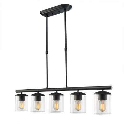 5-Light Black Chandelier with Clear Glass Shade