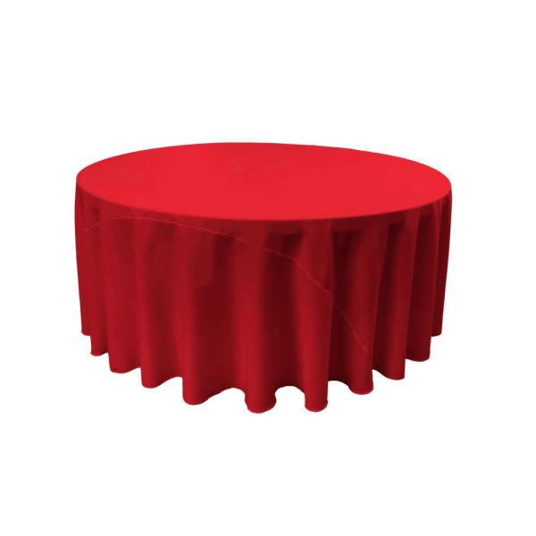 132 in. Round Red Polyester Poplin Tablecloth