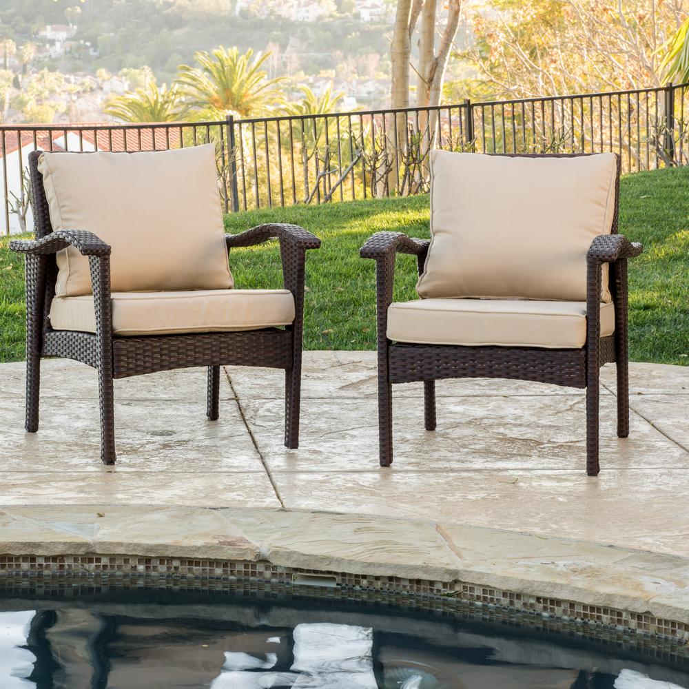 Honolulu Brown Stationary Wicker Outdoor Lounge Chair with Tan Cushion (2-Pack))