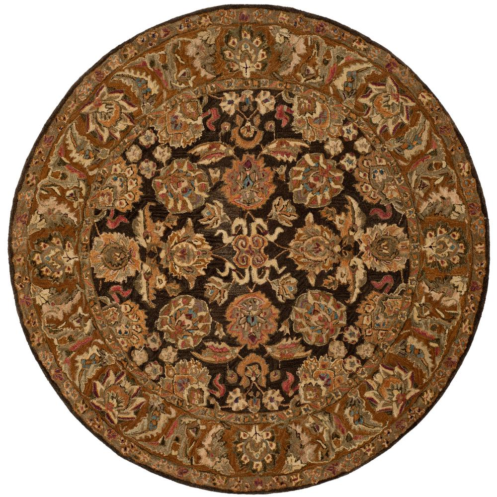 Safavieh Anatolia Dark Brown Gold 6 Ft X 6 Ft Round Area