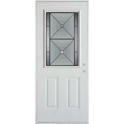 33.375 in. x 82.375 in. Bellochio Patina 1/2 Lite 2-Panel Painted White Steel Prehung Front Door