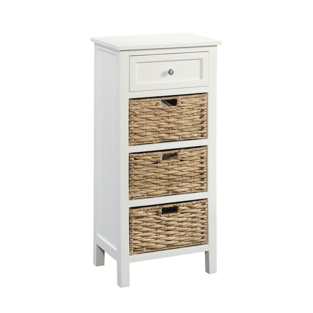 SAUDER Cottage road White Storage Cabinet with Baskets