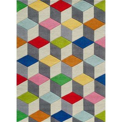 Lil Mo Hipster Color Cubes Multi 4 ft. x 6 ft. Indoor Kids Area Rug
