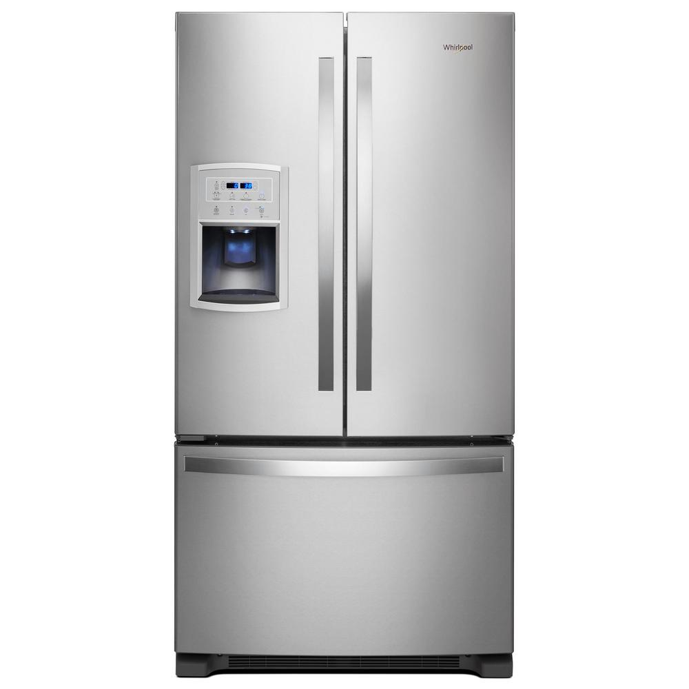 whirlpool 36 in w 28 cu ft side by side refrigerator in fingerprint resistant stainless steel. Black Bedroom Furniture Sets. Home Design Ideas
