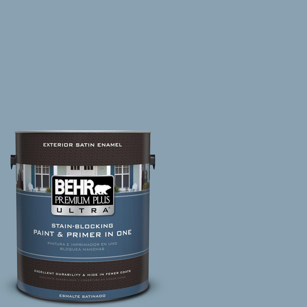 BEHR Premium Plus Ultra 1-gal. #T14-14 Cloisonne Blue Satin Enamel Exterior Paint