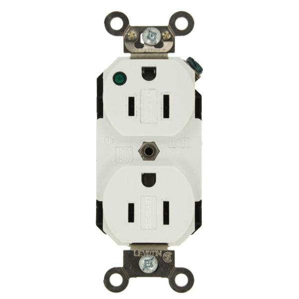 15 Amp Hospital Grade Extra Heavy Duty Self Grounding Duplex Outlet with Power Indicator, White