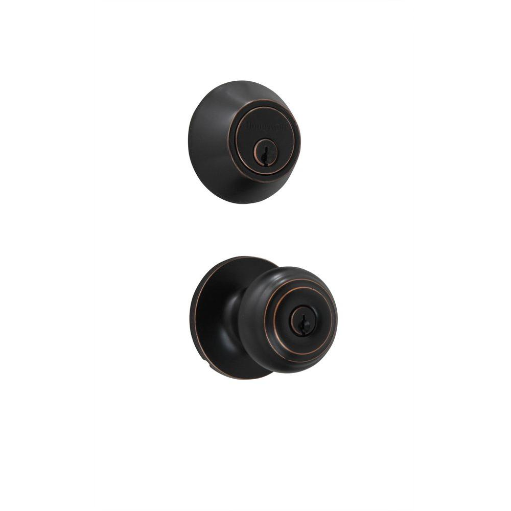 1.5 in. Oil-Rubbed Bronze Classic Knob Door Lock Home Security Kit