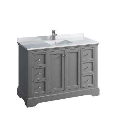Windsor 48 in. W Traditional Bathroom Vanity in Gray Textured, Quartz Stone Vanity Top in White with White Basin